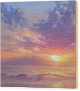 Coastal Hawaiian Beach Sunset Landscape And Ocean Seascape Wood Print