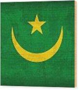 Mauritania Flag Vintage Distressed Finish Wood Print