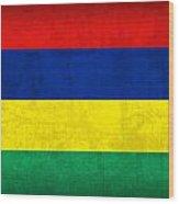 Mauritius Flag Vintage Distressed Finish Wood Print