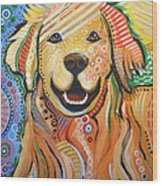 Max ... Abstract Dog Art...golden Retriever Wood Print