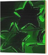 Max Two Stars In Green Wood Print