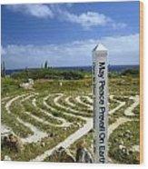 May Peace Prevail On Earth Peace Labyrinth Aruba Wood Print