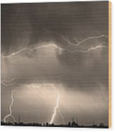 May Showers - Lightning Thunderstorm Sepia 5-10-2011 Wood Print
