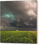 May Thunderstorm - Storm Twists Over House On Colorado Plains Wood Print