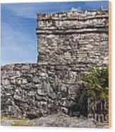 Mayan Building At Tulum Wood Print