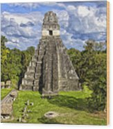 Mayan Temple At Tikal Wood Print