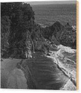 Mc Vay Falls In Monochrome  Wood Print