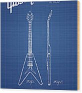 Mccarty Gibson Electric Guitar Patent Drawing From 1958 - Bluepr Wood Print