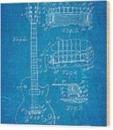 Mccarty Gibson Les Paul Guitar Patent Art 1955 Blueprint Wood Print