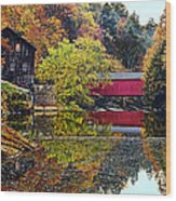 Mcconnell's Mill And Covered Bridge Wood Print
