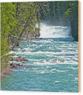 Mcdonald Creek Falls In Glacier Np-mt Wood Print