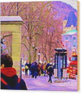 Mcgill Campus Eager Students Enter Roddick Gates Montreal Collectible Art Prints Carole Spandau  Wood Print