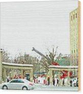 Mcgill Campus Student Cycles By Roddick Gates Sherbrooke St Montreal Winter Scene Carole Spandau  Wood Print