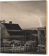 Mcintosh Farm Lightning Sepia Thunderstorm Wood Print by James BO  Insogna
