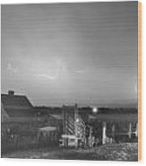 Mcintosh Farm Lightning Thunderstorm View Bw Wood Print