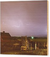 Mcintosh Farm Lightning Thunderstorm View Wood Print