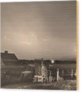 Mcintosh Farm Lightning Thunderstorm View Sepia Wood Print by James BO  Insogna