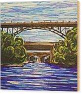 Mcquesten High Level Bridge Hamilton On Wood Print