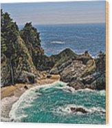 Mcway Falls Beach Wood Print by Lara Ellis