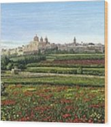 Mdina Poppies Malta Wood Print by Richard Harpum