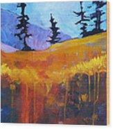 Meadow Mountain Wood Print