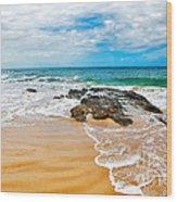 Meandering Waves On Tropical Beach Wood Print
