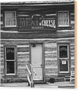 Meat And Cheese Market Black And White Wood Print