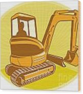 Mechanical Digger Excavator Retro Wood Print by Aloysius Patrimonio