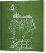 Mechanical Horse Patent Drawing From 1893 - Green Wood Print