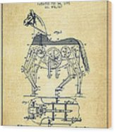 Mechanical Horse Patent Drawing From 1893 - Vintage Wood Print
