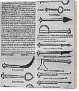 Medical Instruments, 1531 Wood Print