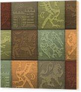 Medieval 12-tile Collage Autumn Colors Wood Print