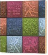 Medieval 12-tile Collage Spring Colors Wood Print