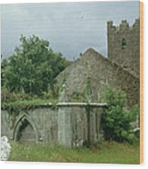 Medieval Church And Churchyard Wood Print