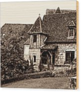 Medieval Cottage In Sarlat Sepia Wood Print
