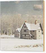 Medieval Farmhouse In Winter Snow Wood Print