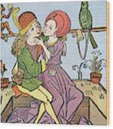 Medieval Lovers Wood Print