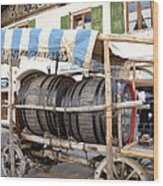 Medieval Wagon Used For Transporting Wine Wood Print by Elzbieta Fazel