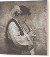 Medieval Flute Player Wood Print by Pat Abbott