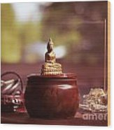 Meditating Buddha Statue Wood Print