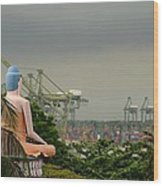 Meditating Buddha Views Container Seaport Singapore Wood Print