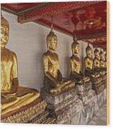 Meditating Buddhas Wood Print