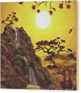 Meditating By A Golden Waterfall Wood Print
