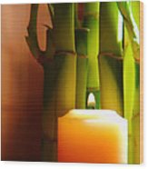 Meditation Candle And Bamboo Wood Print by Olivier Le Queinec