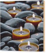 Meditation Candles Wood Print by Olivier Le Queinec