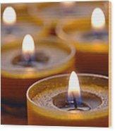 Meditation Candles Path Wood Print