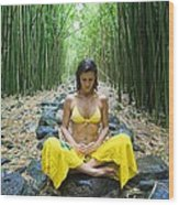 Meditation In Bamboo Forest Wood Print