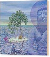 Meditation On Buddha Blue Wood Print by Dominique Amendola