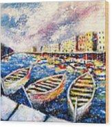 Mediterranean Port Colours Wood Print