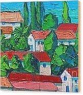 Mediterranean Roofs 3 4 Wood Print